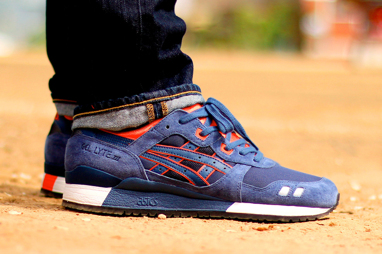 asics gel lyte iii navy blue orange