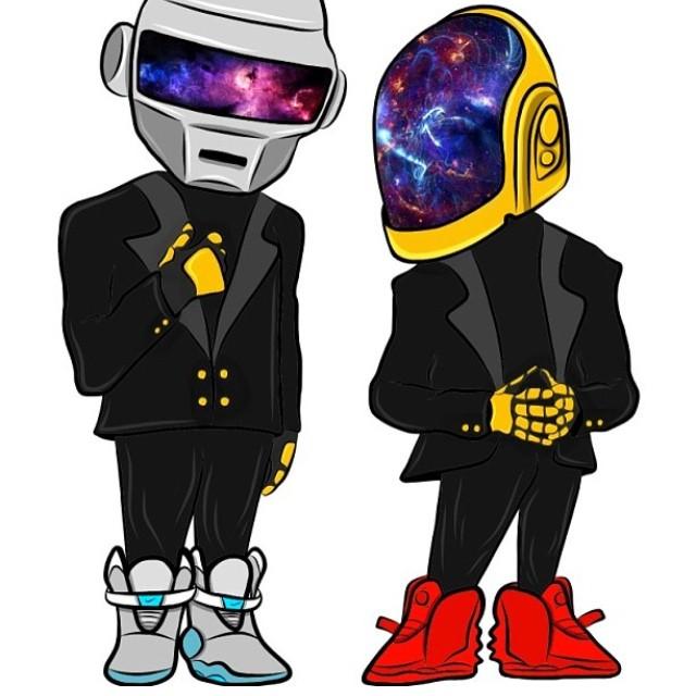 Les Daft Punk en Nike Mag & Air Yeezy Red October