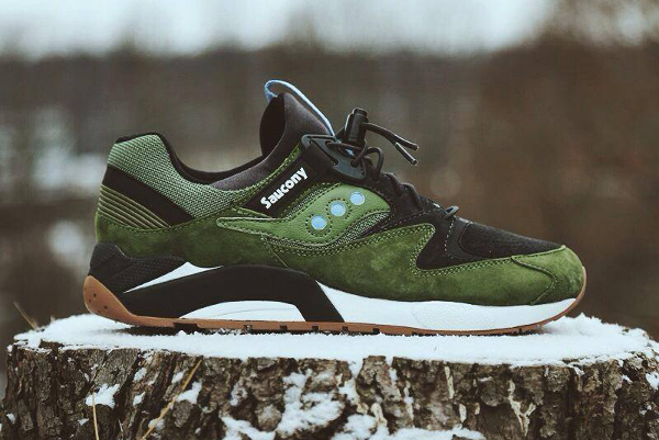 Saucony Grid 9000 Premium Olive & Red Charcoal