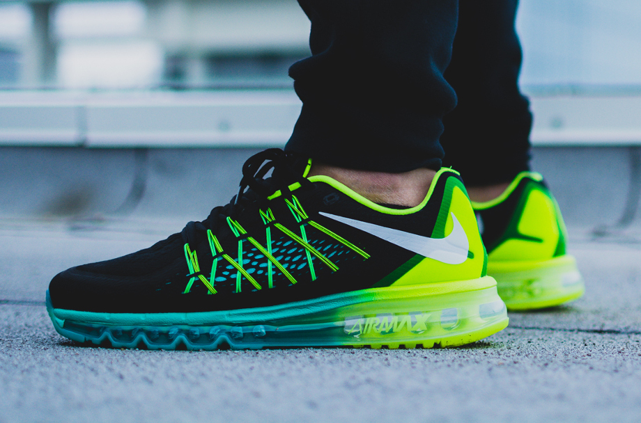 Cheap NIKE AIR MAX 2015 BLACK GREEN BLUE free shipping