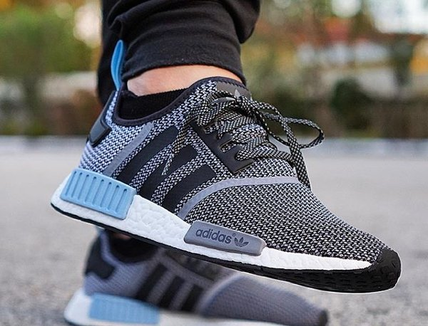 adidas nmd r1 boost knit 39 tonal 39 black lush red clear blue. Black Bedroom Furniture Sets. Home Design Ideas