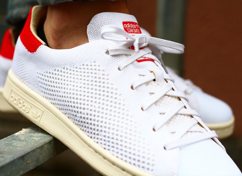 Basket Adidas Stan Smith Primeknit OG PK (White Chalk Red) (4)