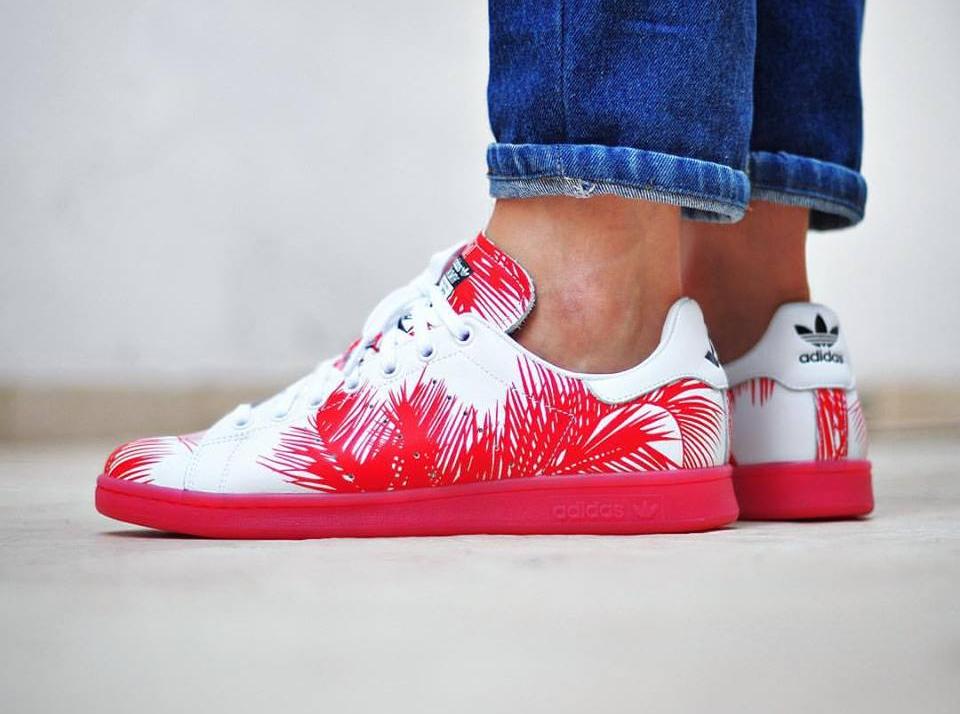 Pharrell Williams x BBC x Adidas Stan Smith 'Palm Tree' White Red