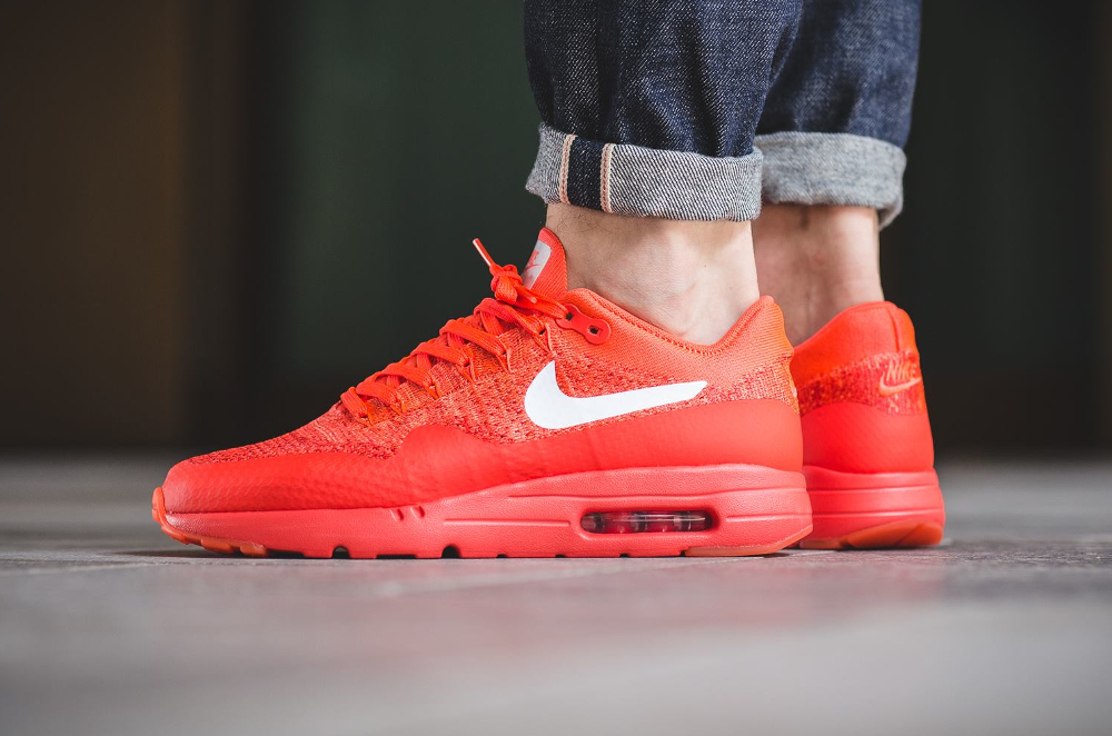 Nike Air Max 1 Ultra Flyknit rouge (Bright Crimson White University Red) (homme)