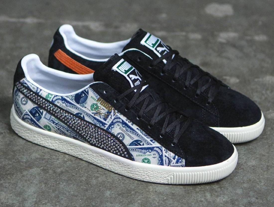 Mita Sneakers x Puma Clyde 'Walter Frazier' $1000 Bill Print