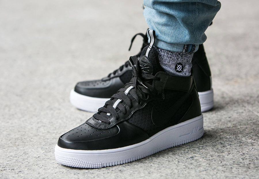 Nike Air Force 1 Ultraforce Mid 'Black Leather' (cuir noir)