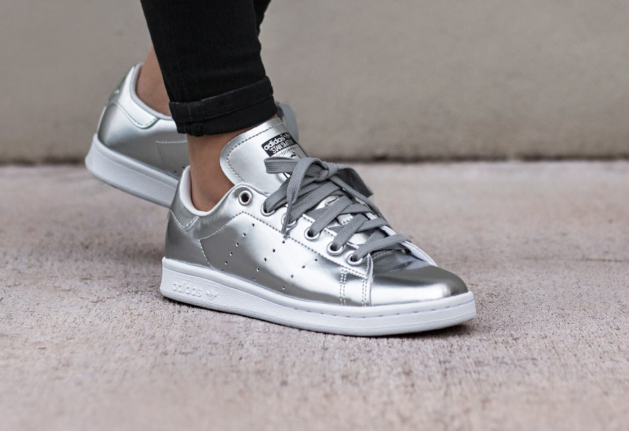 Adidas Stan Smith cuir argent (Metallic Silver) femme
