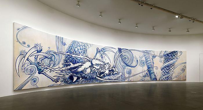 Peintures «Les deux dragons» de Takashi Murakami (exposition à Gagosian en Italie)