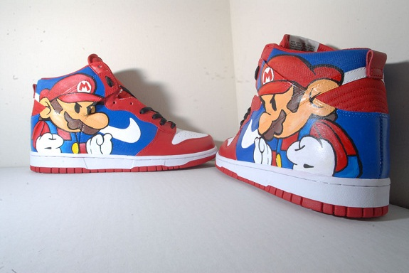 Mario Bros Dunk High Nike Sneakers Super Customisées v8OnyNwm0