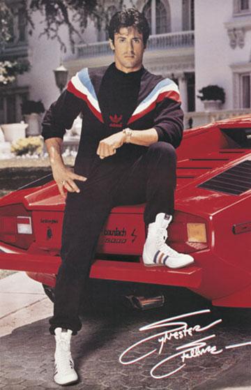 Sylvester Stallone avec les chaussures Adidas de Rocky 4