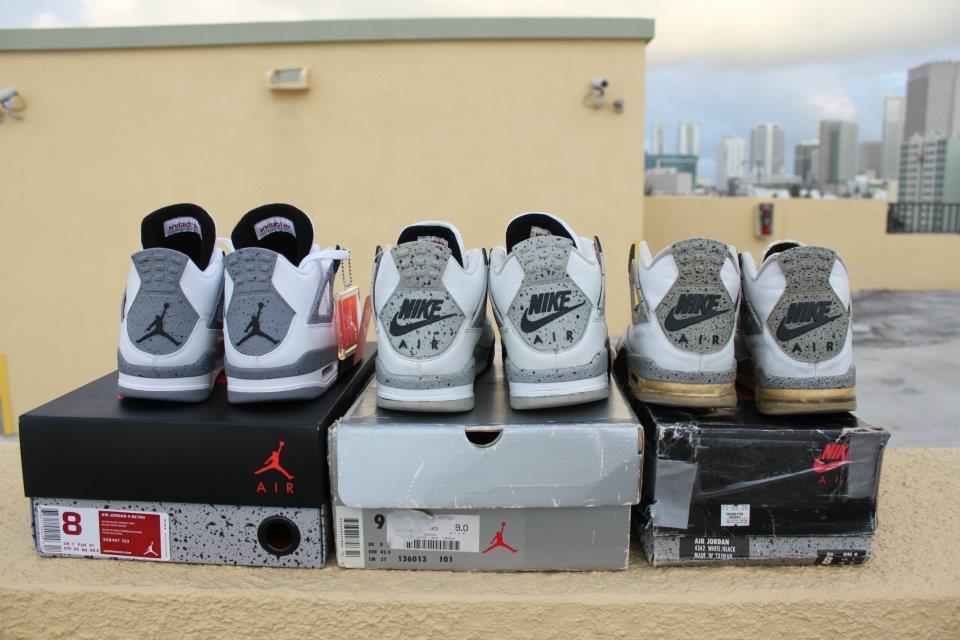 Comparaison Air Jordan 4 White Cement