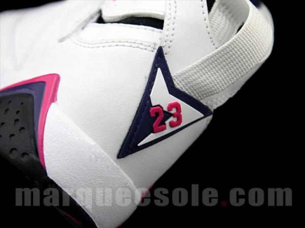 closer at run shoes reliable quality Jordan 7 femme (GS) blanche et rose