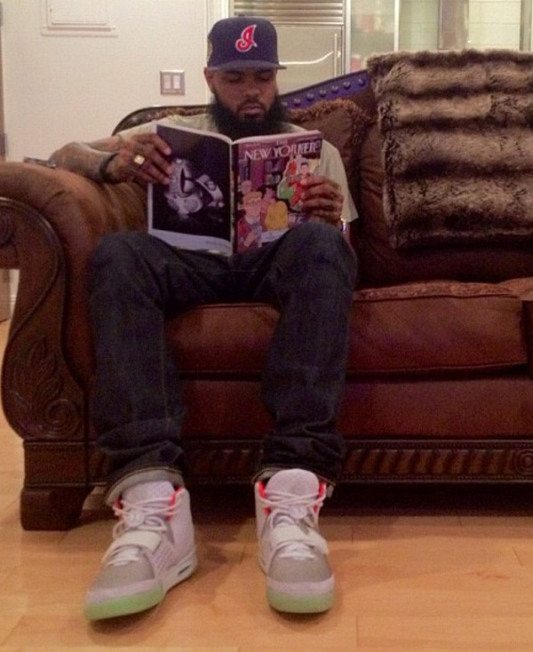 Stalley en Nike Air Yeezy 2 Pure Platinum