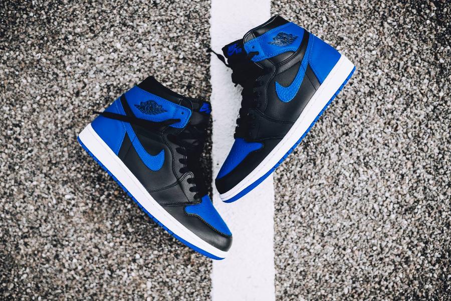 Chaussure Nike Air Jordan 1 OG Retro Black Royal Blue 2017 (2)
