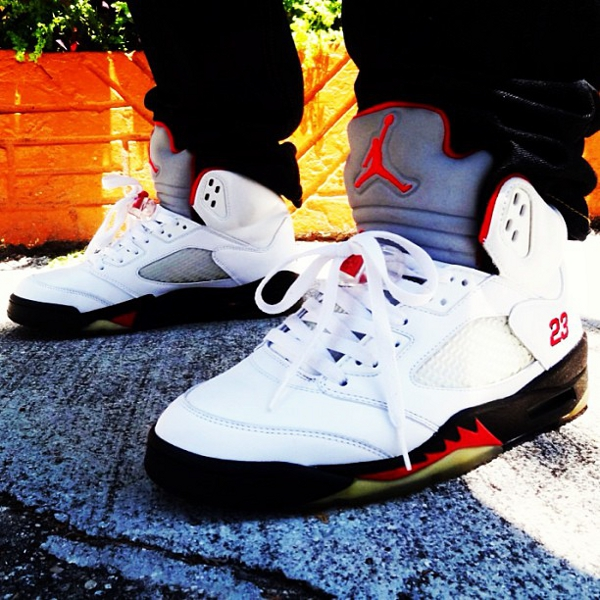 Air Jordan 5 White/Black/Fire Red