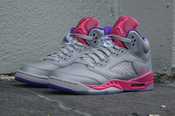 Air Jordan 5 Grey Cement/Pink