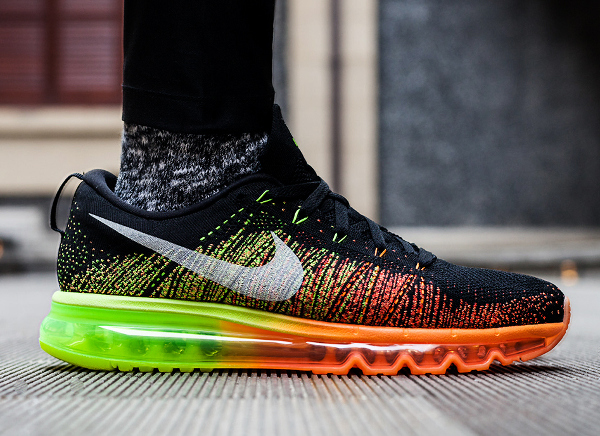 nike air max flyknit black yellow orange