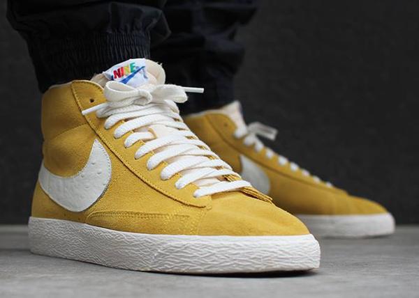 Nike Blazer Mid Vintage Rainbow aux pieds-1