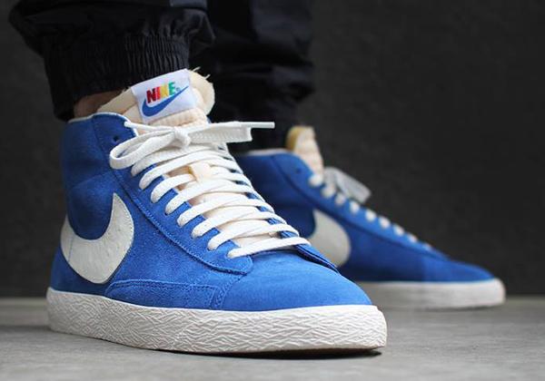 Nike Blazer Mid Vintage Rainbow aux pieds-2