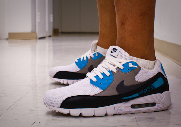 wholesale dealer 37490 da052 ... greece nike air max 90 current id laser blue dirty soles 5167d 4a052 ...