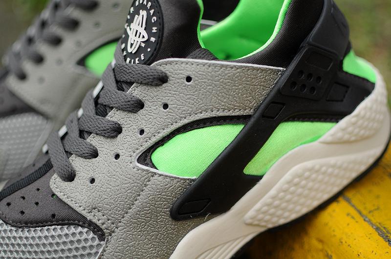 Nike Air Huarache Mine Grey Mid Fog-Poison Green (4)