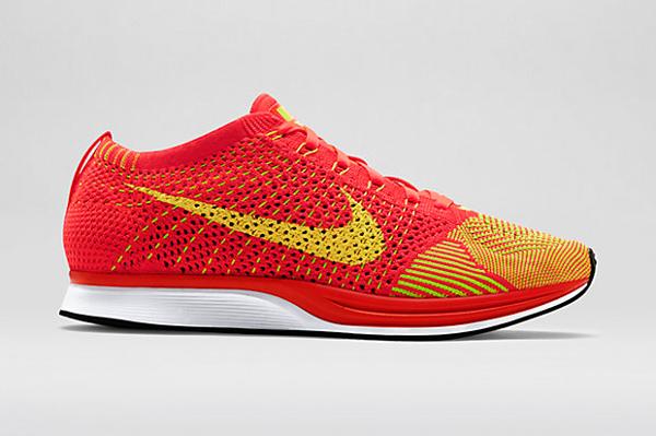 Nike Flyknit Racer (Bright Crimson & Volt) (2)