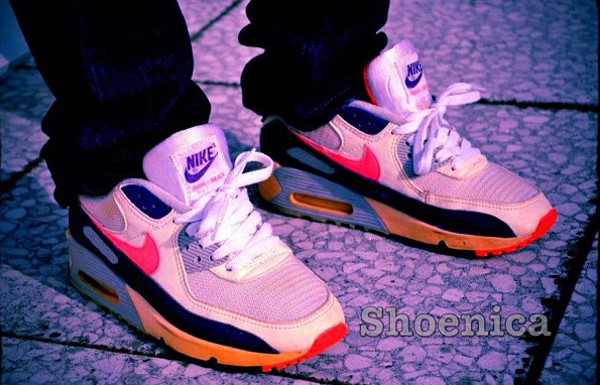 1991-Nike Air Max 90 White Egglant Zen Grey - Shoenica