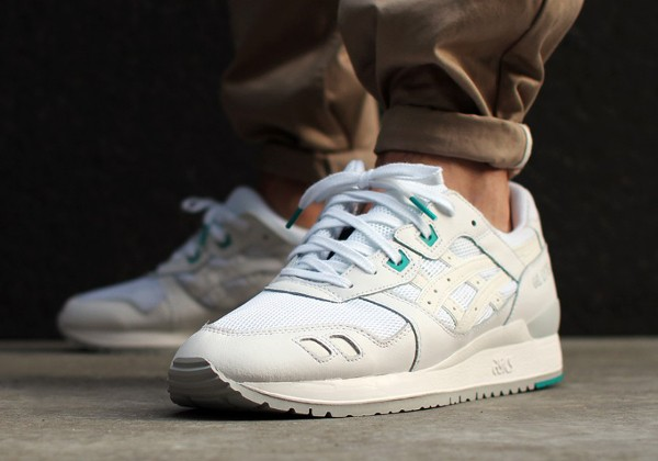 Asics Gel Lyte 3 White White Teal aux pieds (3)