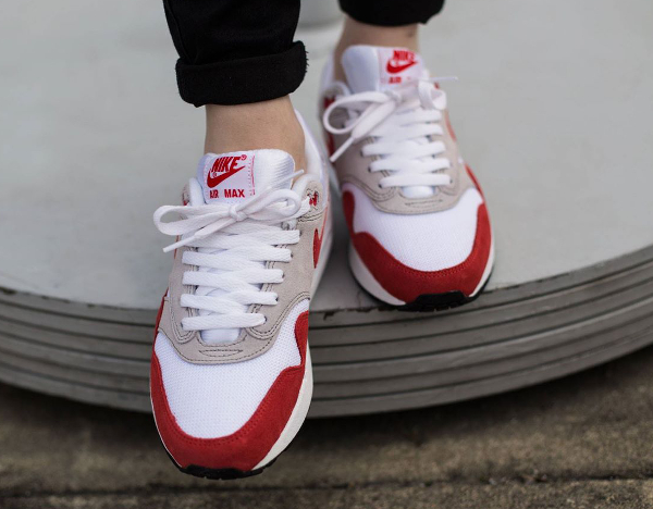 Nike Air Max 1 OG GS (femme) White Challenge Red Grey Black (2)