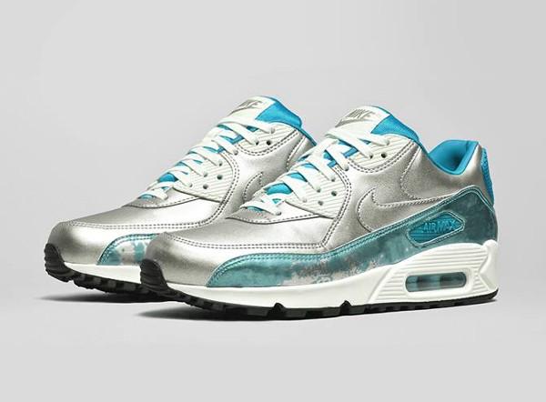 Nike Air Max 90 Metallic Silver Blue 'Air Brush' (bleu) (1)