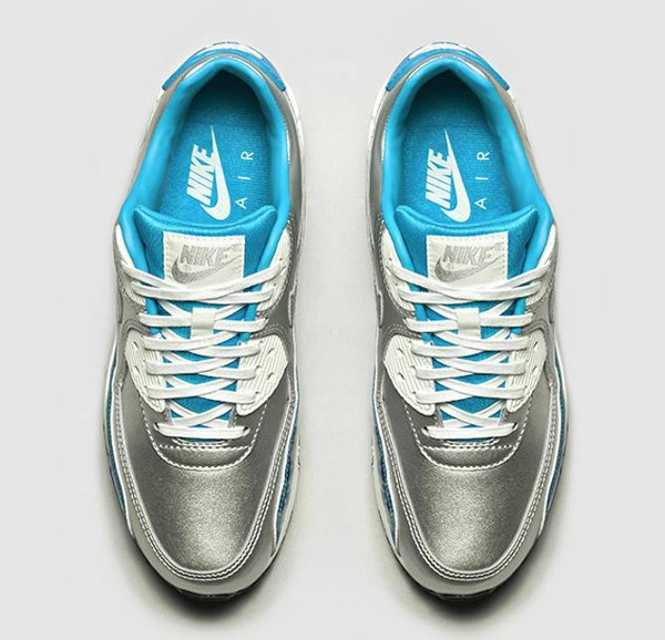 Nike Air Max 90 Metallic Silver Blue 'Air Brush' (bleu) (2)