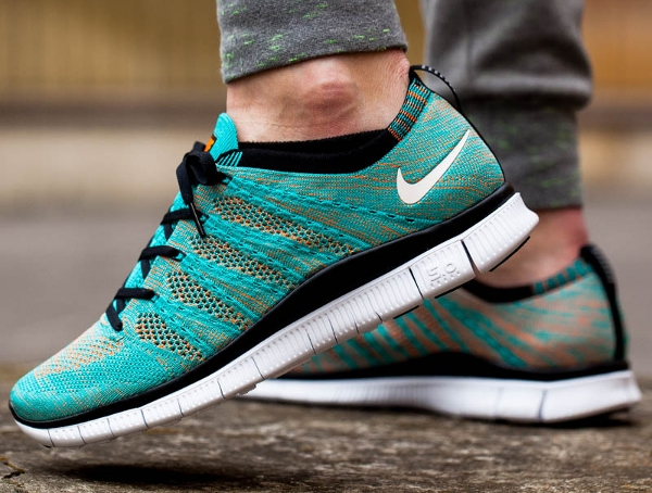 Nike Free Flyknit NSW Hyper Jade Black Orange (5)