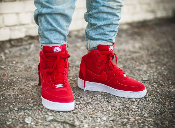 Nike Air Force 1 High Suede Gym Red   Sneakers actus