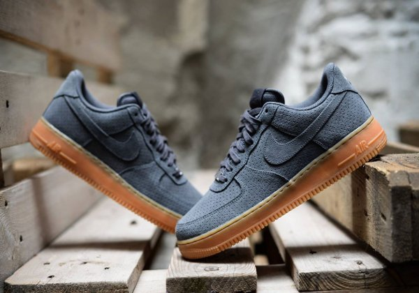 nike air force 1 low suede dark grey gum sneakers actus. Black Bedroom Furniture Sets. Home Design Ideas
