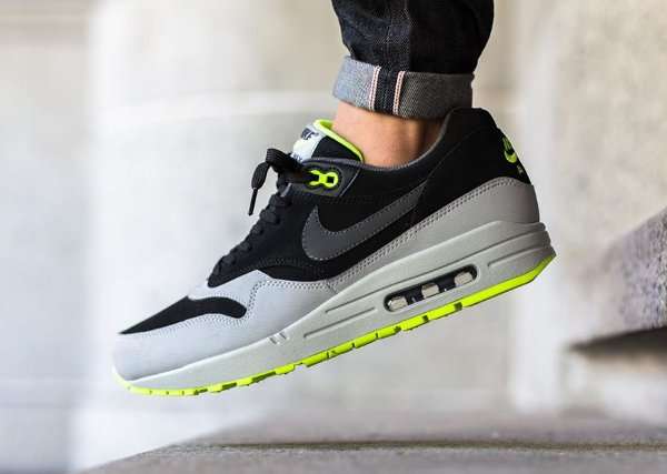 Nike Air Max 1 Leather Black Grey Volt  (2)
