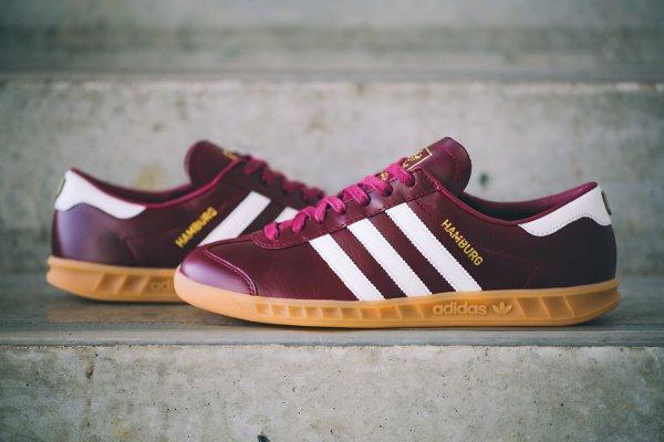 new product 7e704 455f6 Adidas Hamburg Leather Burgundy Made in Germany