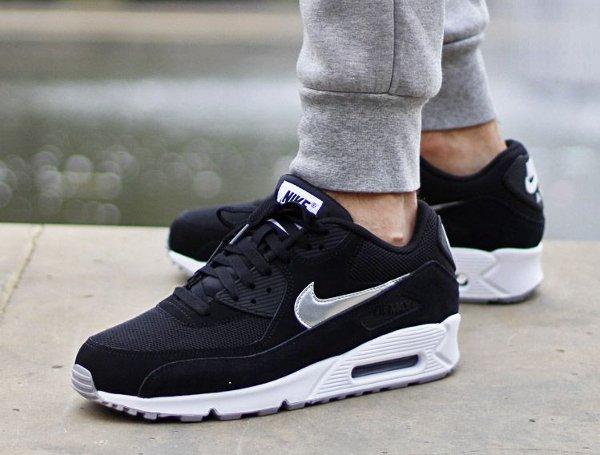 Nike Air Max 90 Essential Black Silver White | Sneakers-actus
