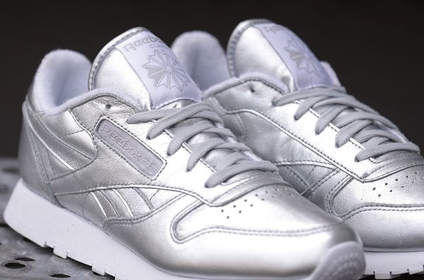 Reebok Classic Leather Silver Spirit Face Trainers | reebok