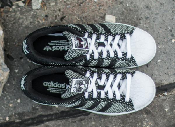 4b38c38cb78 Adidas Superstar Weave Black White