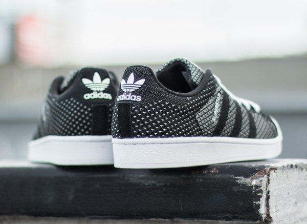 b92e2307ab9 Adidas Superstar toile tissée blanc et noir (3)