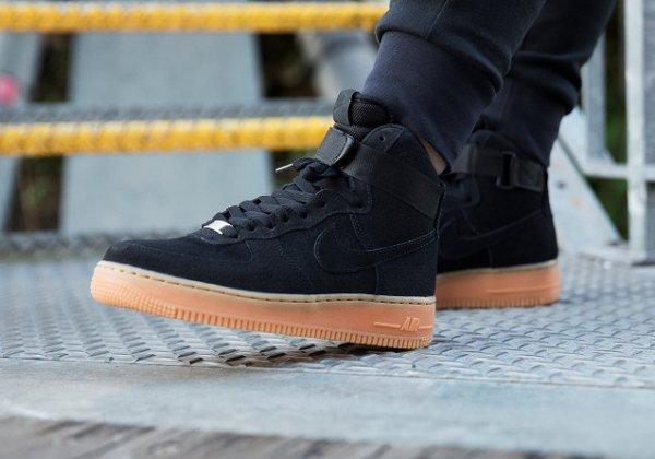 nike air force 1 high suede black gum sneakers actus. Black Bedroom Furniture Sets. Home Design Ideas