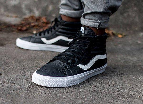 Vans Sk8 Hi Reissue Premium Leather Black | Sneakers actus