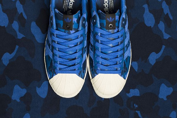 Adidas Consortium Superstar 80V Camo x Undefeated x Bape Black Blue Gold (1)