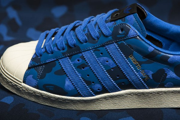 Adidas Consortium Superstar 80V Camo x Undefeated x Bape Black Blue Gold (2)