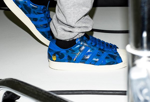 Adidas Consortium Superstar 80V Camo x Undefeated x Bape Black Blue Gold
