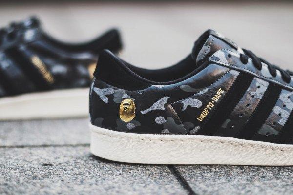 Adidas Consortium Superstar 80V Camo x Undefeated x Bape Black Cinder Gold (3)