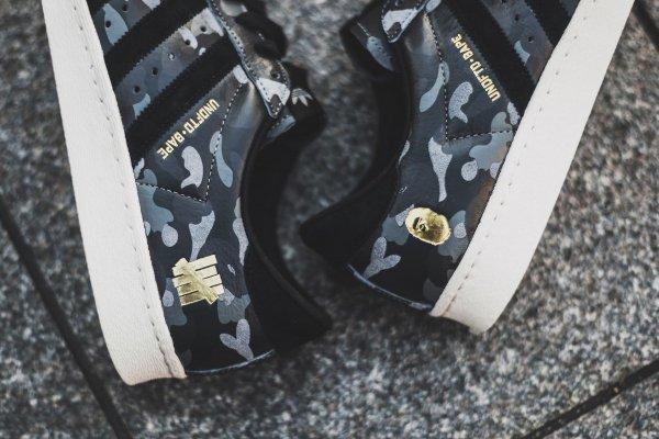 Adidas Consortium Superstar 80V Camo x Undefeated x Bape Black Cinder Gold (4)