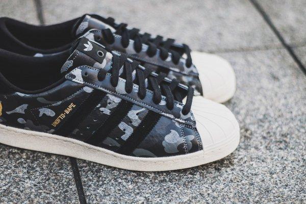 Adidas Consortium Superstar 80V Camo x Undefeated x Bape Black Cinder Gold (6)