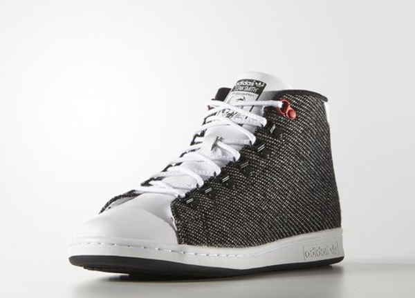 Adidas Stan Smith mi-montante Tweed blanche et grise (2)