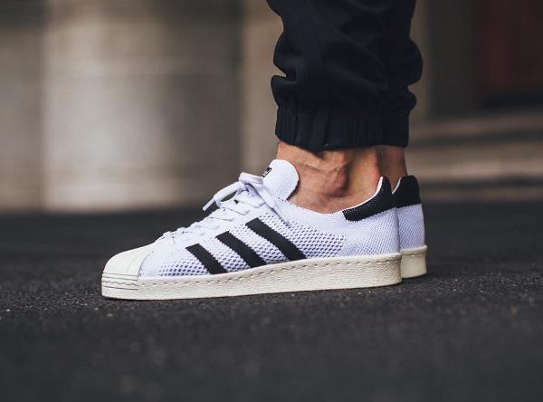 Adidas Superstar 80's Primeknit White Gold pas cher (1)